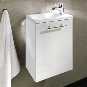 Details zu Bad-Möbel Waschtisch mit Unterschrank Waschbecken Hochglanz  Gäste WC Badezimmer
