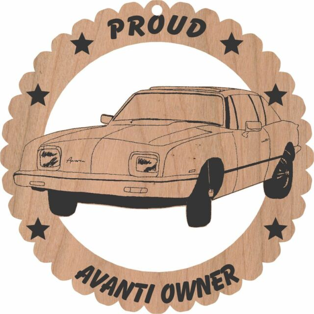 1984 Avanti Coupe Wood Ornament Laser Engraved Large 5 3/4 Inches Round