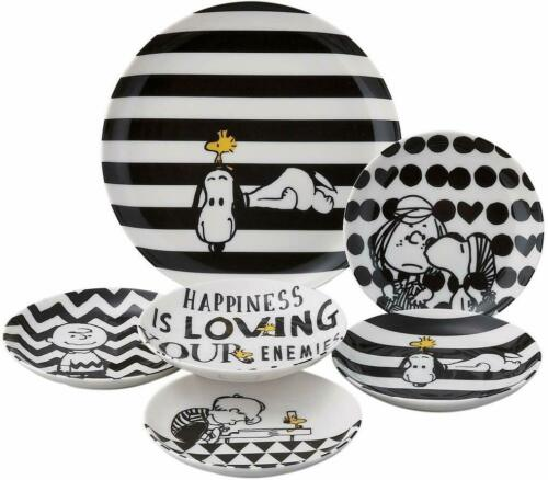 Dinner Plates Set SNOOPY Peanuts Monotone Pattern Porcelain L×1 S×5