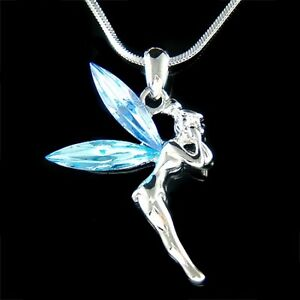 Blue w swarovski crystal fairy tinker bell tinkerbell angel pendant image is loading blue w swarovski crystal fairy tinker bell tinkerbell aloadofball Images