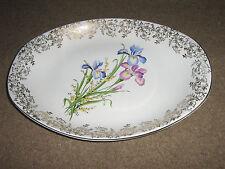 Por British Anchor-Placa Floral Oval-anfitriona Vajilla-Inglaterra-Iris Diseño-Bonito