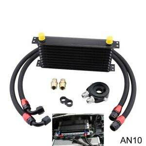 10Row Engine Transmission Oil Cooler Kit Oil Filter