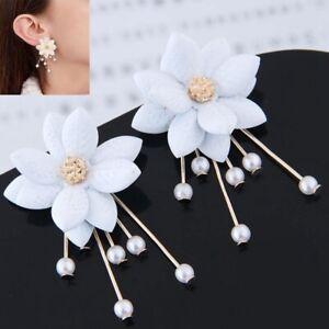 Ear-Personality-White-Flower-Stud-Fashion-Jewelry-Pearl-Dangle-Earrings-Women