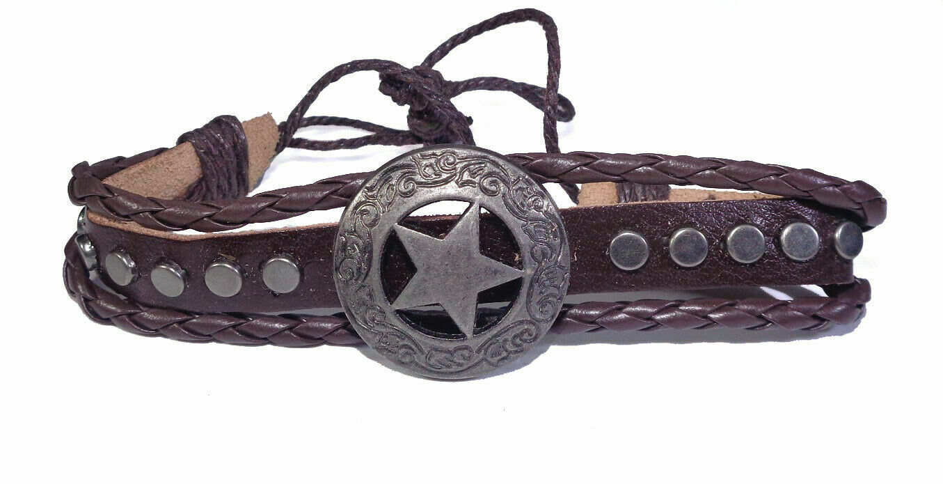Leather Wrist Band For men Boy Stability and Luck