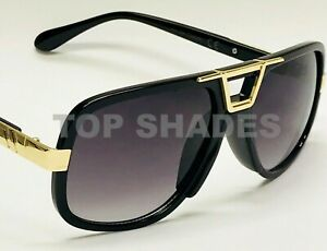 Classic-Gazelle-Hip-Hop-Flat-Top-Aviator-Swag-Square-Turbo-Gold-Metal-Sunglasses