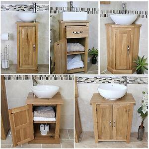 Image Is Loading Bathroom Vanity Unit Oak Sink Cabinet Ceramic Wash