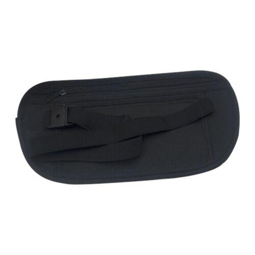 BLACK HIDDEN SECURITY SECURE TRAVEL MONEY BELT BUM BAG WAIST POUCH WALLET LIGHT