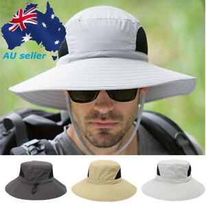 569fbee3042 Mens Women Wide Brim Sun Protection Boonie Hats Outdoor Camping ...