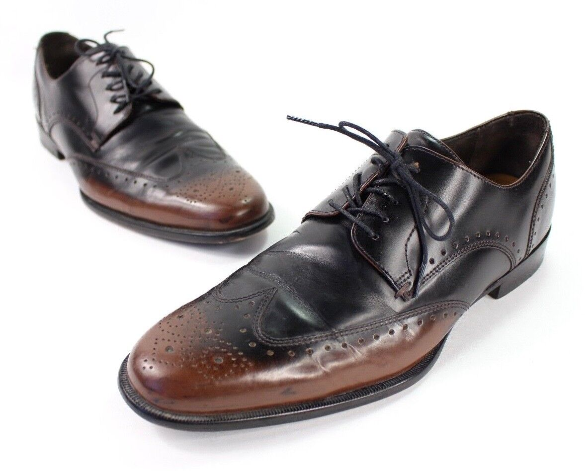 Cole Haan Mens 9 M Wingtip Leather Oxfords Shoes Two Tone Brown Black Hipster