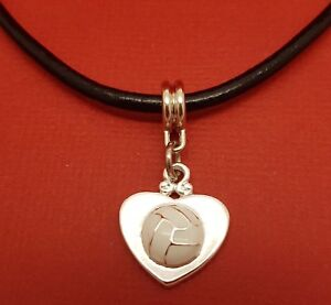 Netball-Heart-Necklace-Leather-Silver-Plated-Charm-Pendant-jewellery-great-gift