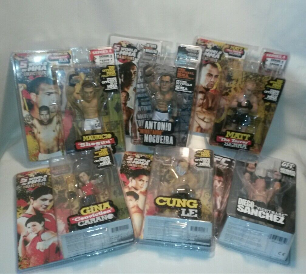 LOT OF 6 NEW WORLD MMA CHAMPIONS ACTION FIGURES CHUNG GINA RAU DIEGO MATT ETC