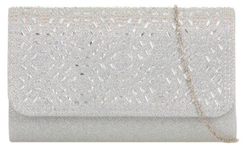Retro Ladies Comb Design Clutch Bag Gemstones Diamante Sparkly Evening Party