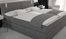 Boxspringbett 180x200 Doppelbett Designerbett Boxspring Bett Kunstleder LED Grau