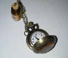 DRINK ME  BOTTLE **ALICE IN WONDERLAND  WORKING POCKET WATCH NECKLACE