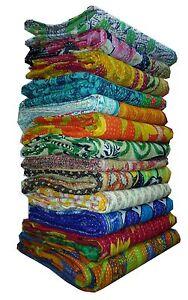 Indian-Old-Vintage-Kantha-Quilt-Reversible-Throw-Gudari-Bedspread-Indian-20-PIEC
