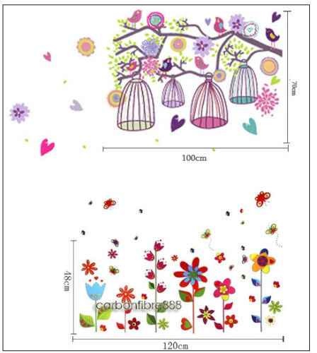 Huge Combo Colourful Bird Cage Tree /& Flowers Wall Stickers Art Paper Decal Kids