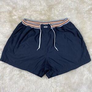 Vintage-Nike-White-Tag-90-s-Nylon-Sweat-Band-Shorts-Navy-Blue-XL-16-18-EUC