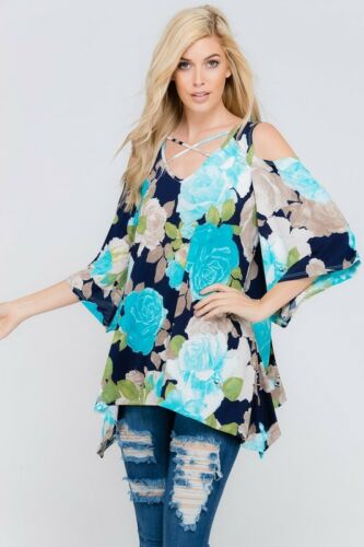 Plus Size Sky Blue Floral Open Shoulder 3//4 Bell Sleeve Flare Tunic Top 1X 2X 3X