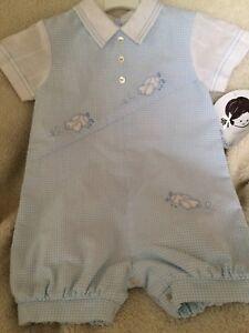 BUY-NOW-LAST-1-Sarah-Louis-Baby-Boy-039-s-Blue-White-Check-Romper-Suit-age-3-Months