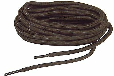 2 pair pack Chocolate Brown Heavy Duty Bootlaces Shoelaces Braided Round Rugged