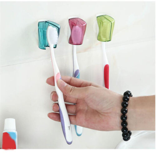 3xToothbrush Holder Dustproof Wallmount Suction Cup Toothbrush Cover Rack Cap YT