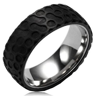 Stainless Steel Circular Forged Black Carbon Fiber Ring 8MMFREE ENGRAVING