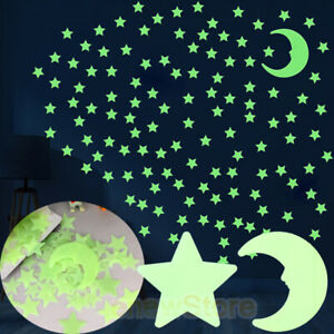 Glow-in-the-Dark-Stars-w-Big-Moon-Perfect-Gift-Wall-Decal-Stickers-Room-decor