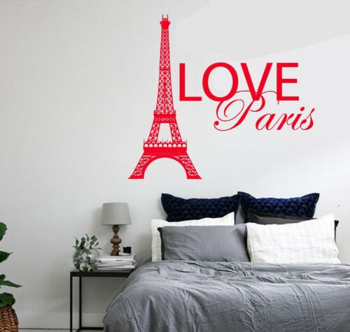 Wall Decal Paris France Eiffel Tower Quote City Love Vinyl Decal z3134