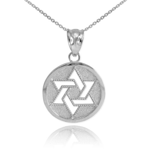 Sterling Silver Cut-Out Star of David Israel Jewish Pendant Necklace
