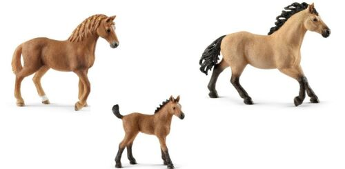 Schleich 13852 13853 13854 Quarter Horse famille étalon Jument et Poulain NEUF