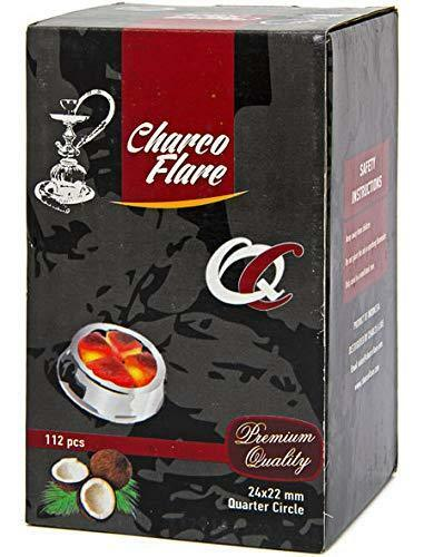 CHARCO FLARE QUARTER CIRCLE COCONUT CHARCOAL SUPPLIES FOR HOOKAHS-112pc