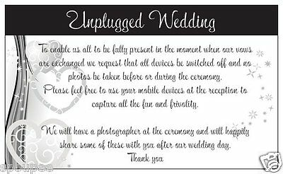 10 UNPLUGGED WEDDING CARDS fr invitations ceremony black white and silver hearts