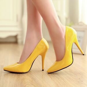 Women-Pointed-Toe-Patent-Leather-Slip-On-Stiletto-High-Heel-Shoes-Plus-Size-Chic