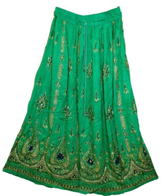 1X / 2X RAYON skirt Indian hippy Rock gypsy kjol jupe retro boho falda WOMEN EHS