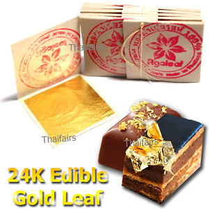 100 Edible Gold Leaf Sheets 24K 100% Pure Cake Decoration Macaroon Dessert Drink