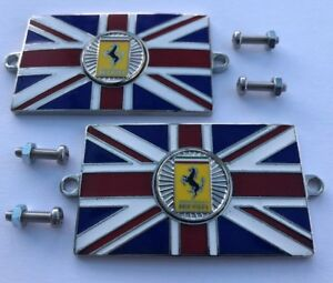 Pair of ASTON MARTIN Union Jack GB Brass Enamel Classic Car Badges Bolt On