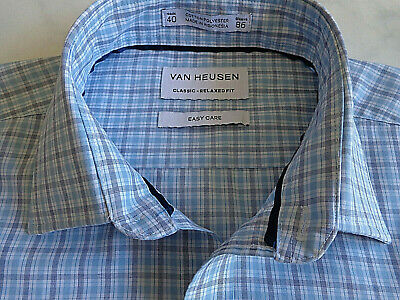Flight Tracker Men's Dark & Light Blue Check Van Heusen Business Shirt Size 40 Sleeve 86 Online Discount