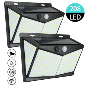 2Pc-208LED-Solar-Power-Light-PIR-Motion-Sensor-Security-Outdoor-Garden-Wall-Lamp
