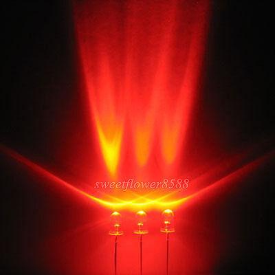 100pcs 3mm Red LED Lamps 5000mcd Ultra Bright Led Light Bulb New Free Shipping