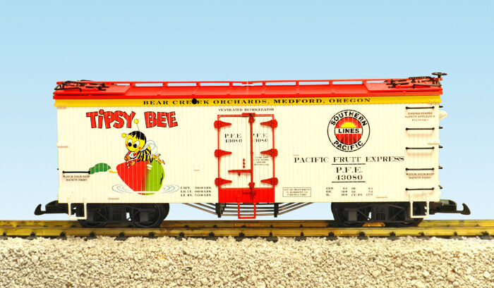 USA Trains G Scale 16460 U.S. REEFER CAR Tipsy Bee/SP – bianca/rosso