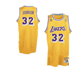 the latest 8f46b d50ff Details about NBA Los Angeles Lakers Adidas 1979-1980 Magic Johnson#32  Hardwood Classic-Jersey