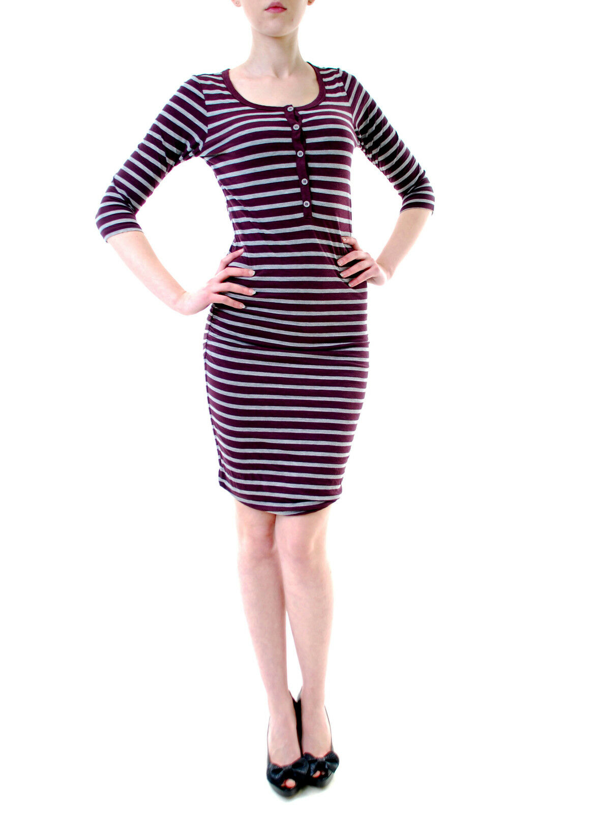 Sundry Women's Striped Slim Midi Dress 3 4 Sleeves Purple US 1 RRP  BCF611