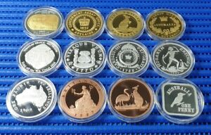 2005-amp-2006-Cook-Islands-1-Commemorative-Silver-Proof-Coin-Lot-of-12-Pieces