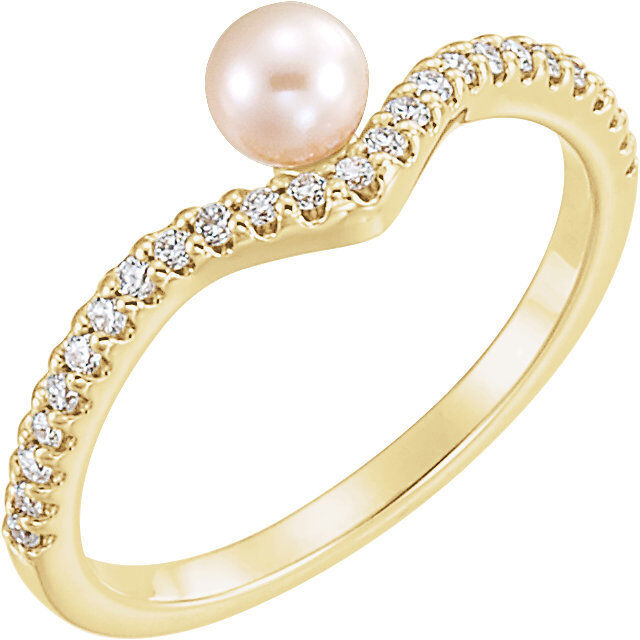 Freshwater Cultured Pearl & 1 5 CTW Diamond Asymmetrical Ring In 14K Yellow gold
