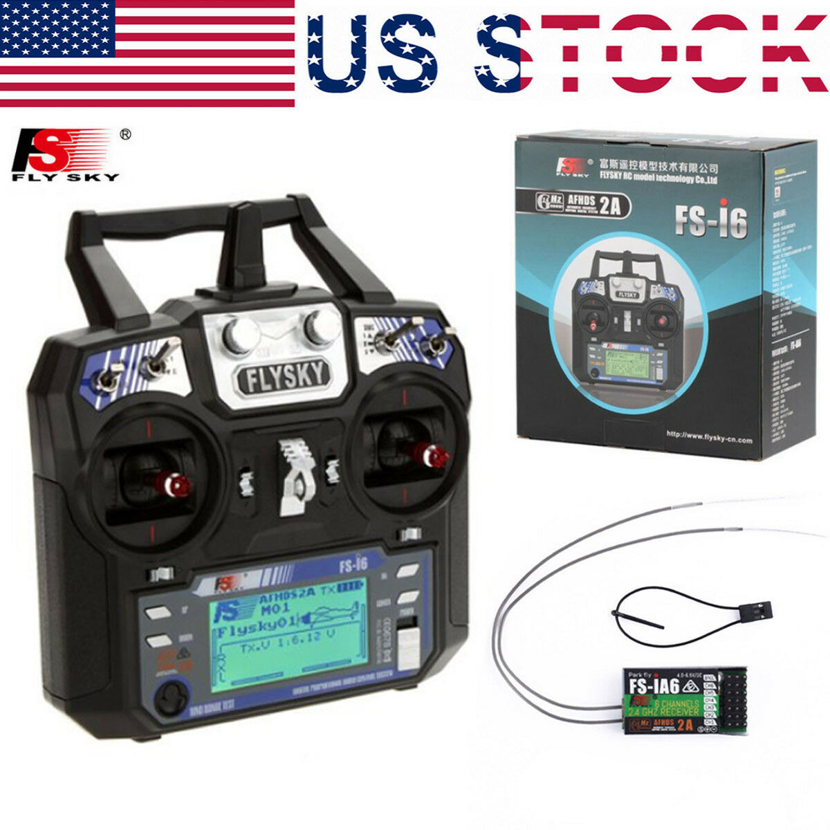 FlySky FS-i6 2.4G 6CH AFHDS RC Radion Transmitter With FS-iA6 Receiver for RC