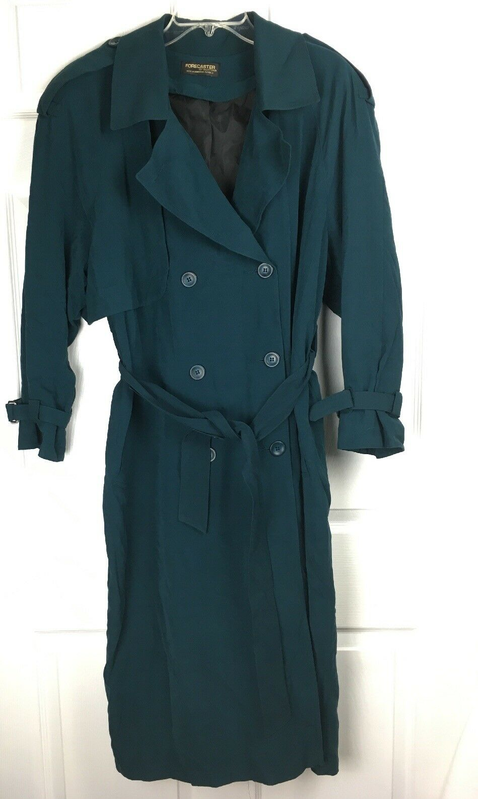 Womens Dark Green Trench Coat Long Forecaster of Boston Lined Size 9 10 Petite