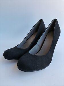 Ladies Asos Black Faux Suede Wedge Heel Shoes Size UK 8 EU 42