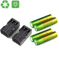 4x 3.7v 18650 Rechargeable Battery For Led Torch +2pcs Smart Dual Charger Us Up