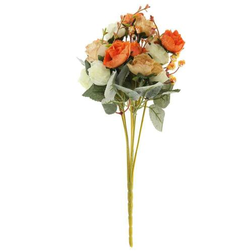 UK Silk Rose Artificial Flowers Bunch in Vase Bouquet Wedding Xmas Party Decor