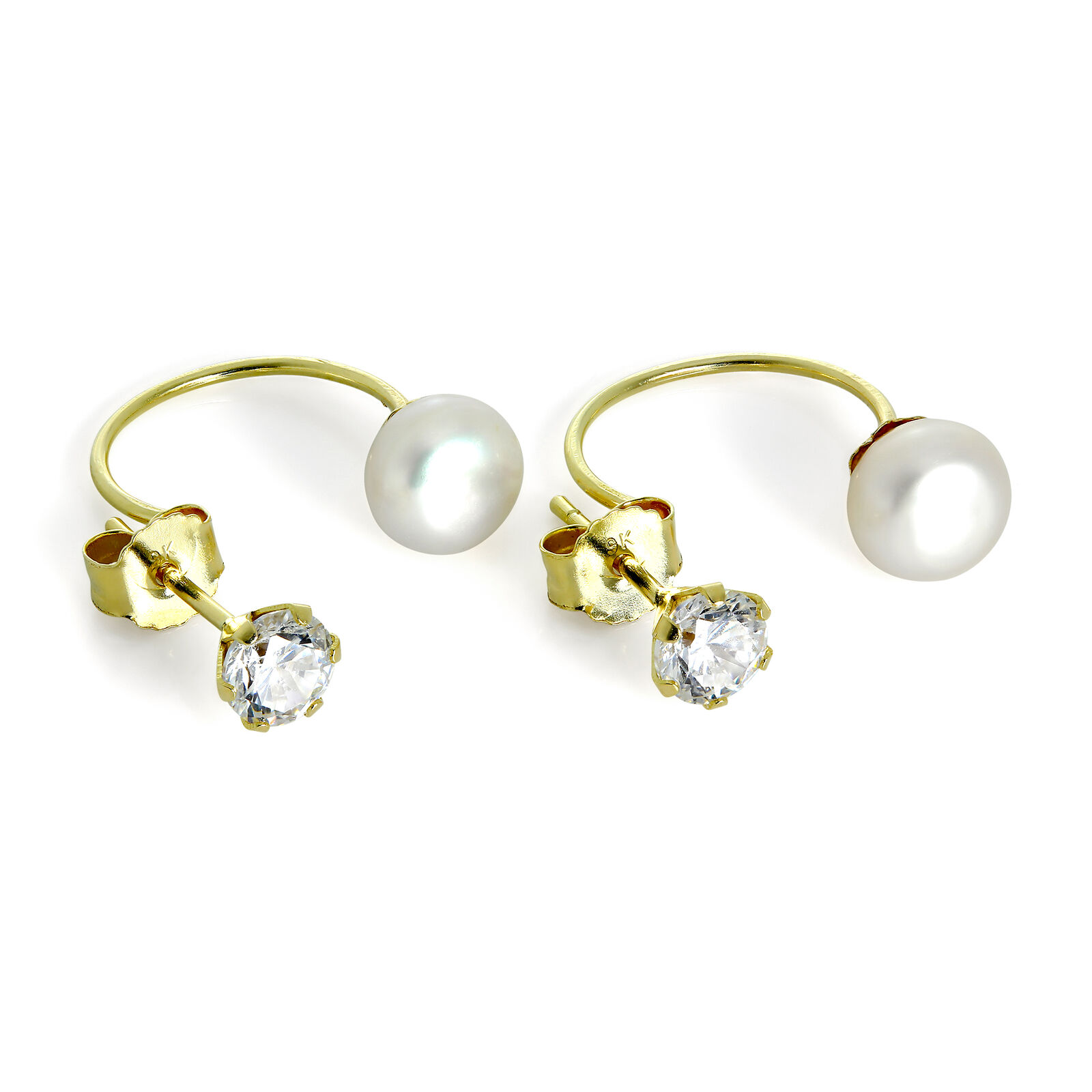 9ct gold 4mm Round CZ Crystal & 6mm Freshwater Pearl Double Stud Earrings